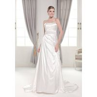 Simple strapless pleated empire beading waist satin wedding dress with sweep train