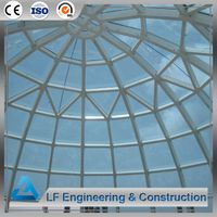 Prefab steel frame atrium dome glass roof