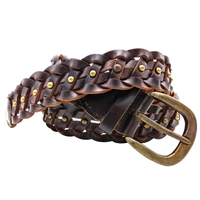 Men's Unisex Hand Raced Braided Genuine Leather Belts Dk-Brown Regular Size Ceinture Belts