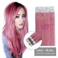 PU weft hair extensions lilac
