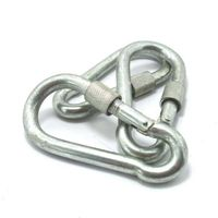 Galvanized metal spring snap clip hook carabiner with nut