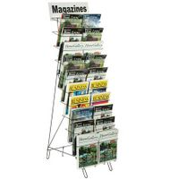 djustable Pockets 10-Tiered Wire Literature Stand for Floor, 20 Adjustable Pockets