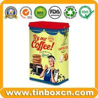 Coffee tin can,coffee box,rectangular tin,tin box