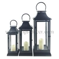 Best seller set of 3 black metal led candle lantern