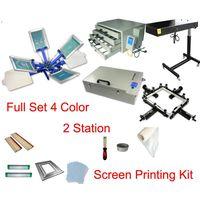 Free shipping full set 4 color 2 station t-shirt screen printing kit press printer machine flash dry thumbnail image