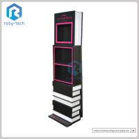 Customized Book Shape Cosmetic Cardboard Display Floor Stand