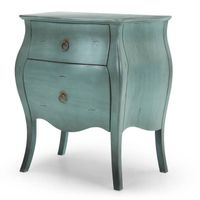 Bedside Table With 2-Drawer In Distressed Turquoise thumbnail image