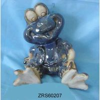 Pottery frog figurine with enamel (glazed)