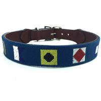 Needlepoint dog collar with solid silver buckle