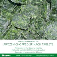 Frozen Chopped Spinach Tablets/IQF Chopped Spinach Tablets