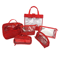 Red Lace Mesh Material Cosmetic Pouch Foe Lady