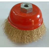 Crimped wire cup brush 75mm M10-1.5 brass coated steel wire