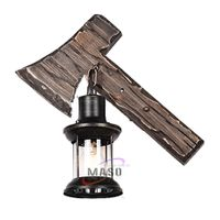 Wall lamp vintage natural wooden axe sleep night light design for home thumbnail image