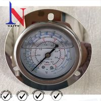 63mm Crimped Ring Bezel Refrigerant Manifold Compound Gauge