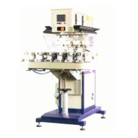 SPCT-8410DR 4-color ink cup pad printer with rotary table conveyor belt and rotary fixture device (
