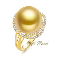 9K Yellow Gold Diamond Southsea Pearl Ring