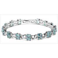 Elegant 10.50CTW Genuine Blue Topaz 30-Stone .925 Sterling Silver Bracelet