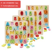 Wooden Educational toy English Alphabet digital learning puzzle wood letters figures for preschool