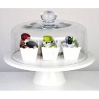 Glass Dome and ceramic stand for paper cake dinner ware