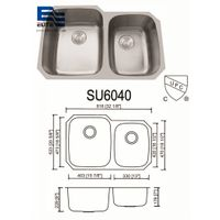 16 gauge Stainless Steel Sink 60 / 40