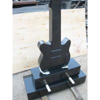 Guitar shape headstone granite monument black tombstone