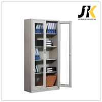 Galss door tall locking storage cabinets