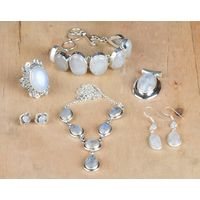 925 Sterling Silver Rainbow Moonstone Jewelry Set