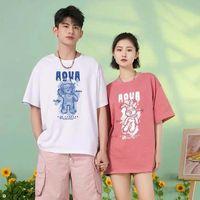 Hong Kong wind INS super hot couple short sleeve T-shirt women summer season thumbnail image