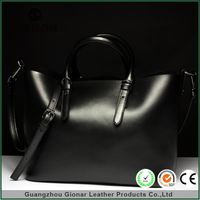 China Suppliers Bargain Tote Leather Black Handbag With Shoulder Strap