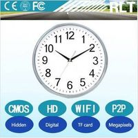 720P HD wifi hidden wall clock camera with 90 degree view angle,support TF card