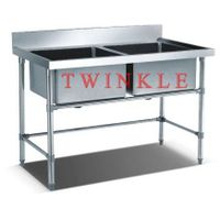 Commercial Stainless Steel Double Sink Table