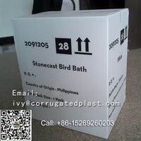 Stonecast bird bath,corrugated plastic box