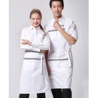Logo custom two pockets white aprons