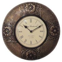 Brass Wooden Antique Wall Clock-12inch (Floral) (AR-18)