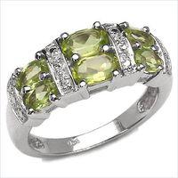Elegant 1.98CTW Genuine Peridot .925 Sterling Silver Ring thumbnail image
