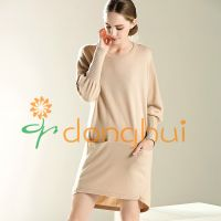 Ladies long style cashmere with wool pullover sweaters