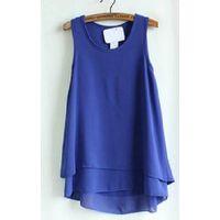 sleeveless fake two-piece chiffon  shirt for women