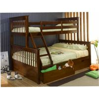 ( WJZ-B73 ) pine wood bunk bed with storage