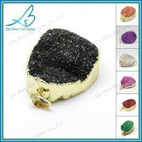 Druzy pendant wholesale, colorful plated natural druzy connectors thumbnail image