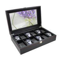 Black Leather Watch Box Wholesale Price For 12 Watches DisplayLeather Watch Box Wholesale