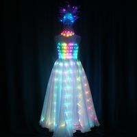 LED Long Luminous Dress with Headwear with Chocker