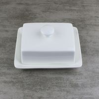 Square Cream Butter Dish with Lid