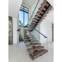 Wooden Stair Case With Glass Railing