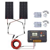 ECO-WORTHY 200 Watt (2pcs 100 Watt) Monocrystalline Solar Panel Complete Off-Grid RV Boat Kit with L thumbnail image