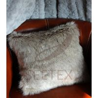 Gray wolf faux fur pillow
