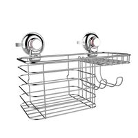 New arrival stainless steel wire suction cup wall mounted corner basket with hooks