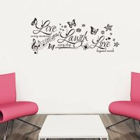 New Wall Decor Black Butterfly Quotes Wall Sticker Music notes Wall Decals Vinyl Wall Art Home Decor