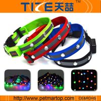 Jewel led dog collar with bright light TZ-PET1002 nylon dog collar