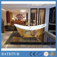 luxury one person clawfoot bathtubs with gold mosaic decor thumbnail image