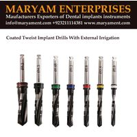 Coated Tweist implat drills With External irrigation Maryam enterprises